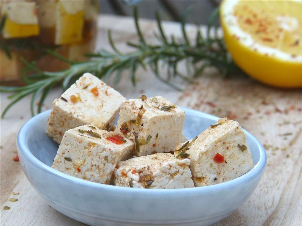 Eingelegter Tofu wie Feta